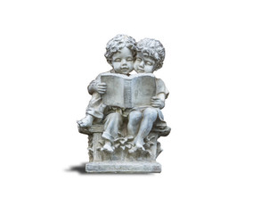Statues of boys and girls reading books.For the decorations in various locations.isolated on white background with clipping path.
