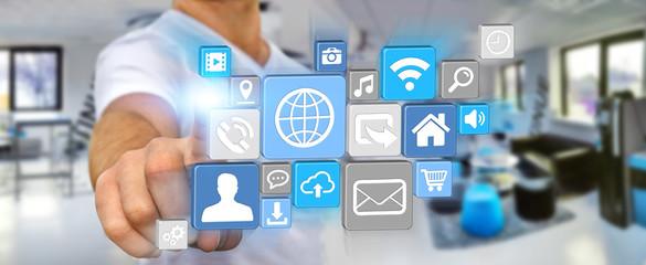 Businessman using modern digital icon application