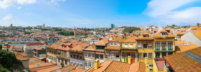 Aerial view of the historic city center of porto in portugal
