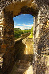 Way in a rocky castle Sloup in nothern Bohemia