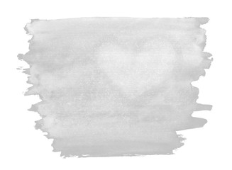 A fragment of a pale grey watercolor background with the light silhouette of the heart