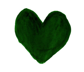 Dark green heart painted with gouache