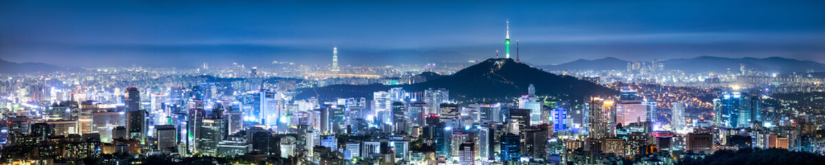 Stores photo Seoul Seoul Skyline Panorama bei Nacht