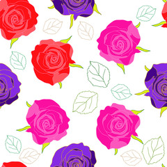 Hand-drawn seamless flower pattern with roses and leaves contour. Floral vintage background for textile, cover, wallpaper, gift packaging, printing, scrapbooking.