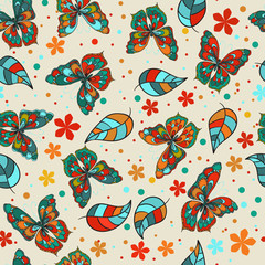 Seamless texture. Multicolor pattern of butterflies, flowers and leaves.