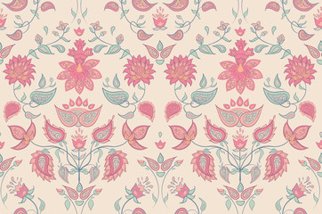 Floral seamless pattern. Print with oriental flowers.