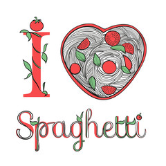 I love spaghetti. Spaghetti with tomatoes. Pasta with vegetables. Italian menu. Plate in the shape of heart.