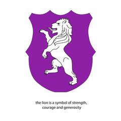 heraldic lion purple color
