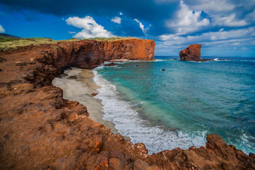 Hulopoe (Sharks) Bay Overlook, Puupeha, Lanai, Hawaii, USA
