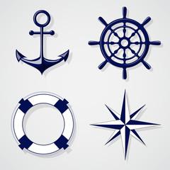 Set of nautical symbols on light grey background
