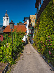 Houses in the old town of St. Wolfgang in Austria