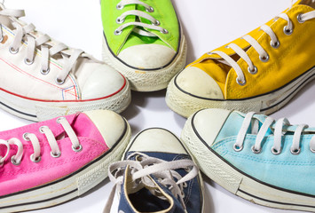 vintage colorful shoes / variety of the colorful shoes / old shoes / circle of colorful shoes