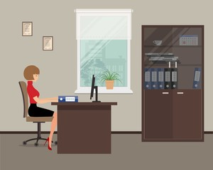 Web banner of an office worker in the room near the window. The young woman is an employee at work. There is a brown furniture, chair, case for documents in the picture. Vector flat illustration