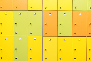 colorful children's lockers in the locker room of the nursery