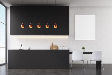 Kitchen interior: black wall, poster