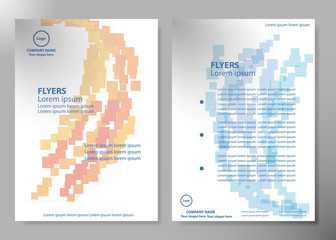 Brochure design template vector. Blue and orange abstract square and square cover book portfolio presentation poster in A4 layout. Flyers report business magazine.