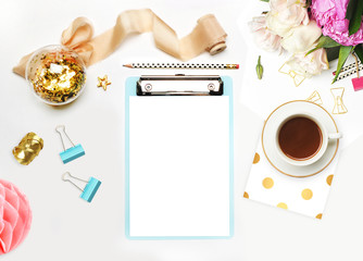 Mockup planner flat lay. Accessory on the table. View top. White background, still life. Events and party desktop. Feminine scene.