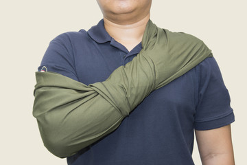 arm sling improvise by cloth triangle apply
