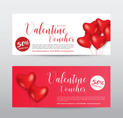 Happy Valentine Day, Gift Voucher Coupon Banner Card Promotion.