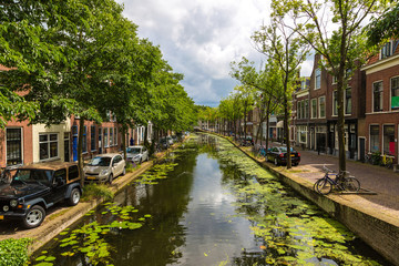 Canal in historical part of Delft