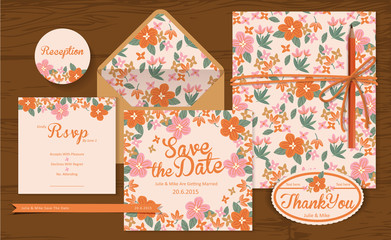 Set of wedding cards ( invitation, thank you, Save the date, RSVP, Just Married)