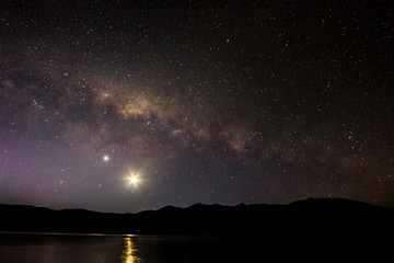 Milky way over mountains and lake