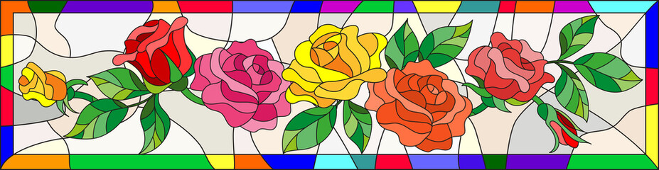Illustration in stained glass style with flowers and leaves of  rose in a bright frame