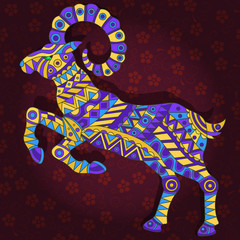 Illustration with abstract ram on a dark floral background