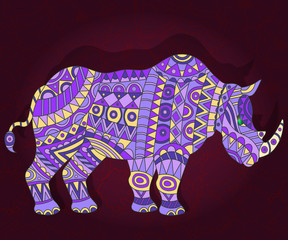 Illustration with abstract rhino on a dark floral background