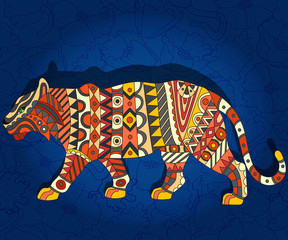 Illustration with abstract tiger on a dark blue floral background