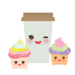 Take-out coffee in Paper thermo coffee cup with brown cap, cupcake. Kawaii cute face with eyes and smile  Isolated on white background. Vector