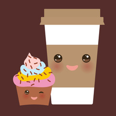 Take-out coffee in Paper thermo coffee cup with brown cap and cup holder, chocolate cupcake. Kawaii cute face with eyes and smile on dark brown background. Vector