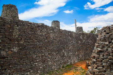 Great Zimbabwe.  Hill Top Enclosure.  Wall with Turrets.