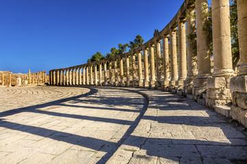 Oval Plaza 160 Ionic Columns Ancient Roman City Jerash Jordan
