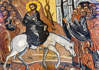Jesus Christ Palm Sunday Donkey Mosaic Saint George's Church Mad