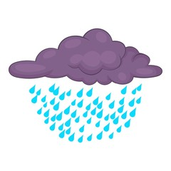 Clouds and rain icon, cartoon style