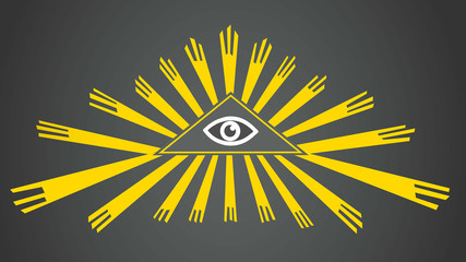 Vector Eye of Providence. The all-seeing eye of golden rays. Sign, symbol. Radiant delta. Vector illustration