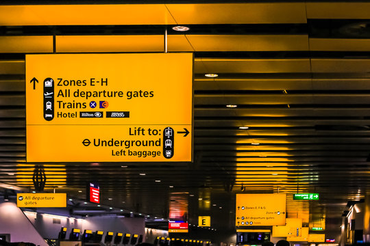 Airport sign boards at Heathrow airport, London, UK