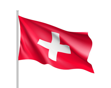 Waving flag of Switzerland state. Illustration of European country flag on flagpole with red and white colors. Vector 3d icon isolated on white background