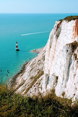White cliffs and a view of the lighthouse in Eastbourne.