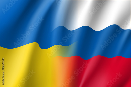 Russian And Ukrainian Countries Symbols Vector Flag Of Russia And