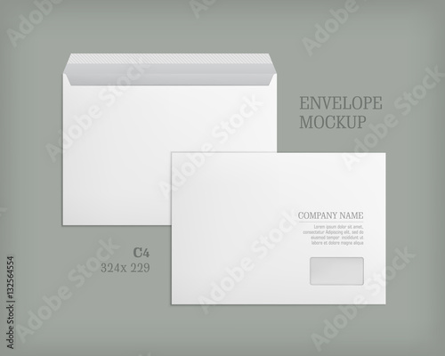 template with transparent window mockup post envelope c4 size vector
