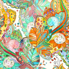 colorful seamless texture with fancy floral. watercolor painting