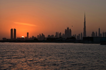 Dubai Ferry route at evening view, Dubai Canal, United Arab Emirates