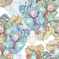 seamless texture with magic pattern. watercolor painting
