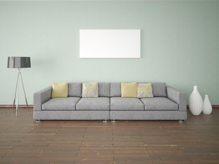 Mock up poster in the stylish living room wallpaper background fashion.