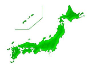 日本地図:立体的