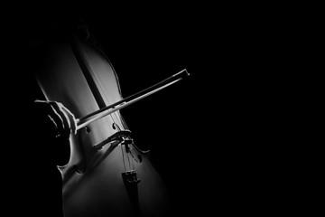 Photo sur Toile Musique Cello player cellist hands with bow