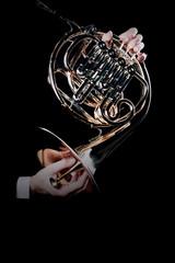 Tuinposter Muziek French horn music instrument