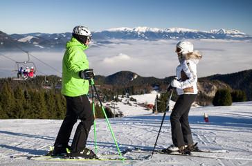 Skiers on the slope at resort Malino Brdo, Slovakia